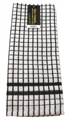 TEA TOWEL GRID TERRY BLACK